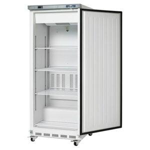 Arctic Air White 25 inch reach in freezer door open